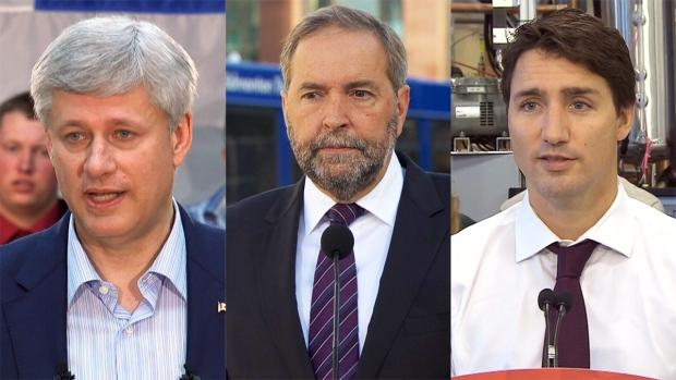 Conservative Leader Stephen Harper, NDP Leader Thomas Mulcair, and Liberal Leader Justin Trudeau